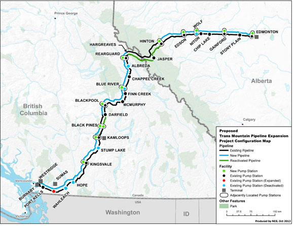 Trans Mountain Pipeline Map from NEB
